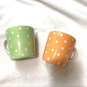 Starbucks Polka Dot Mug Set Orange Green